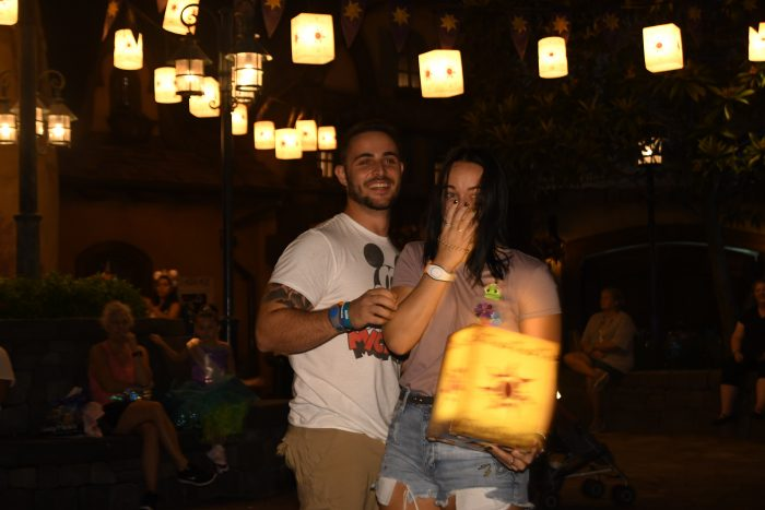 Krysta and Michael's Engagement in Walt Disney World - Tangled Lanterns Photo Spot