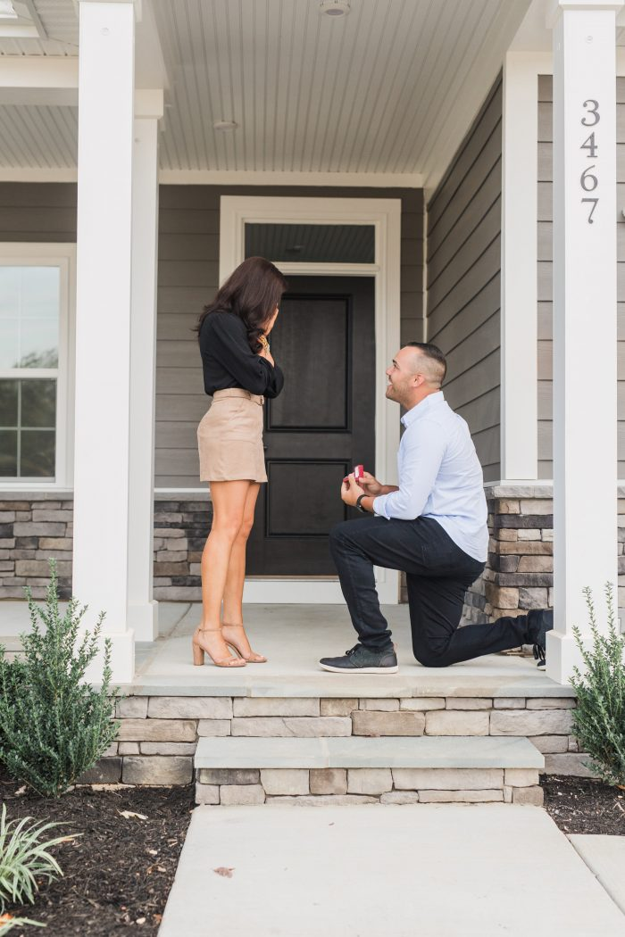Where to Propose in On the front porch of our new home!