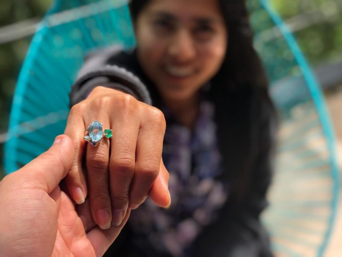 Marriage Proposal Ideas in We meet in Ecuador in 2015, she is from Colombia and i'm Mexican , we were volunteers in that city, in 2019 I flew to colombia to ask she, the ring is hand made and designed by me the esmeralda is typical from colombia and the silver from Mexico, then in colombia I make a deal with the police they want to take back to Mexico, that was scary to she and when she was super obsessed I asked she.
