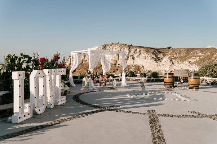 Wedding Proposal Ideas in Venetsanos Winery, Santorini, Greece