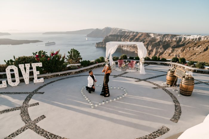 Engagement Proposal Ideas in Venetsanos Winery, Santorini, Greece