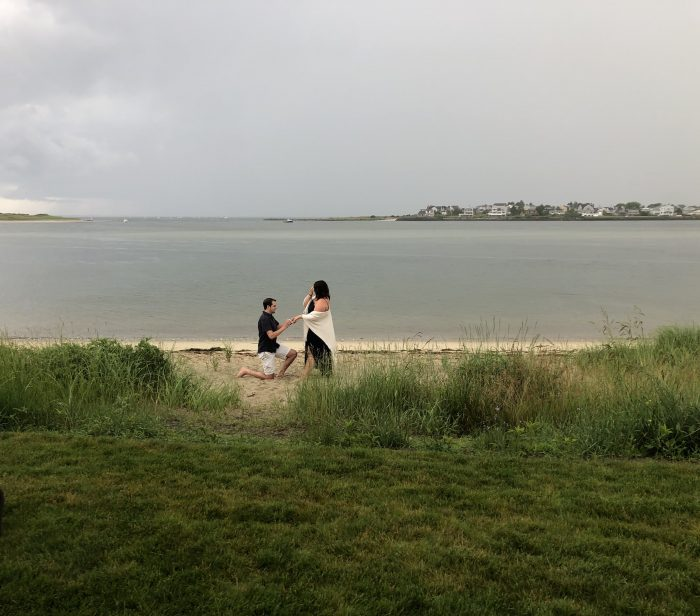 Meghan's Proposal in Outside my parents house on the beach