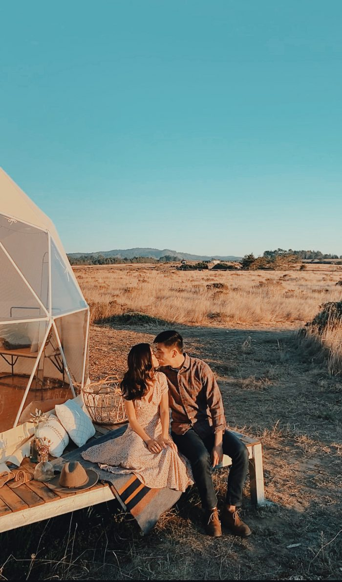 Marriage Proposal Ideas in Glamping in a dome tent in a horse sanctuary!