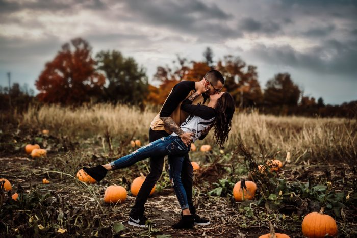 Engagement Proposal Ideas in Corey Lake orchard in the pumpkin patch