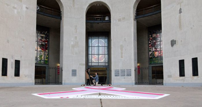 Kristin and Grant's Engagement in The Ohio State university stadium