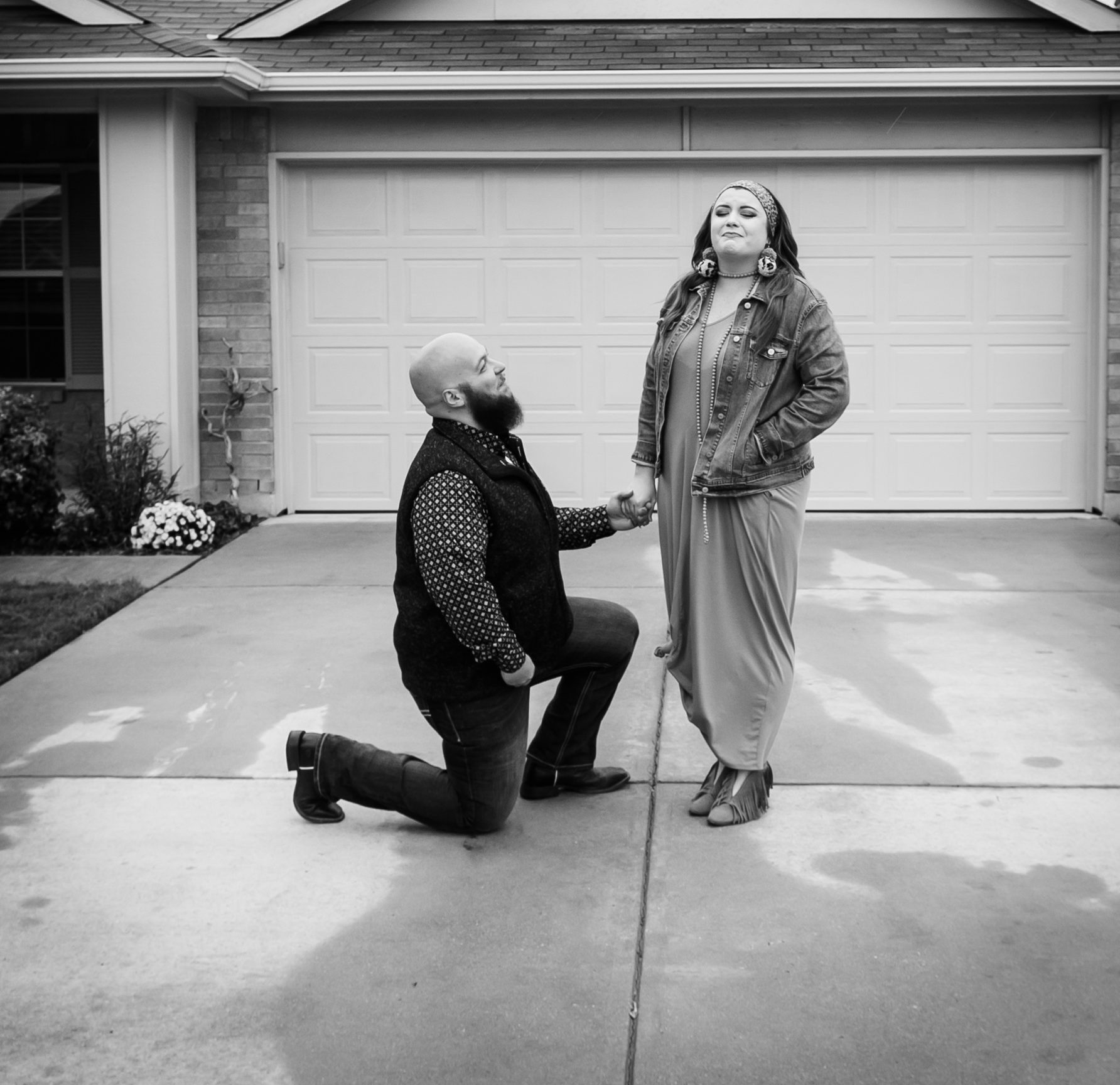 Katie's Proposal in In front of our brand new home we had signed for earlier that day.