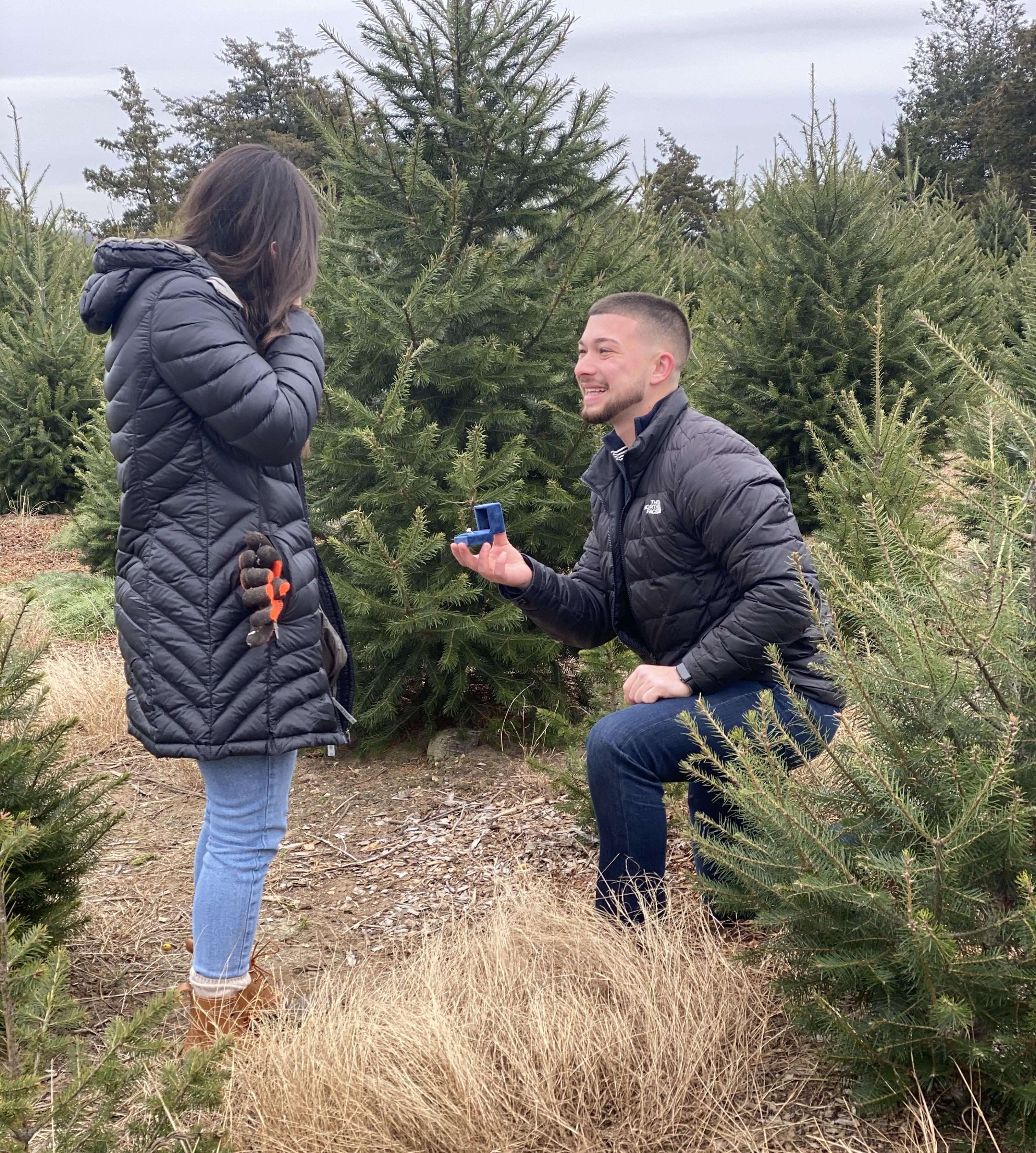 Alexandria and Criag's Engagement in Jones family tree farm