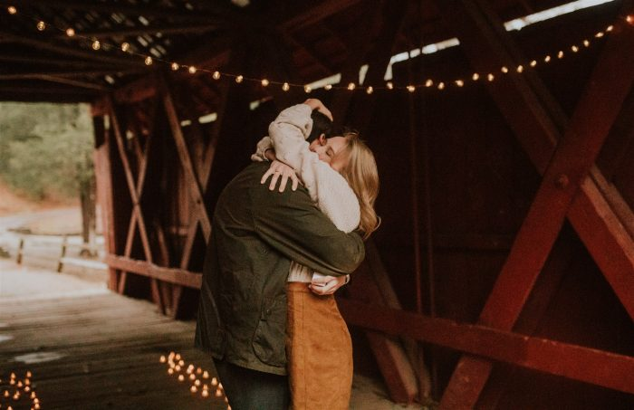 Marriage Proposal Ideas in Campbell's Covered Bridge in Inman, SC