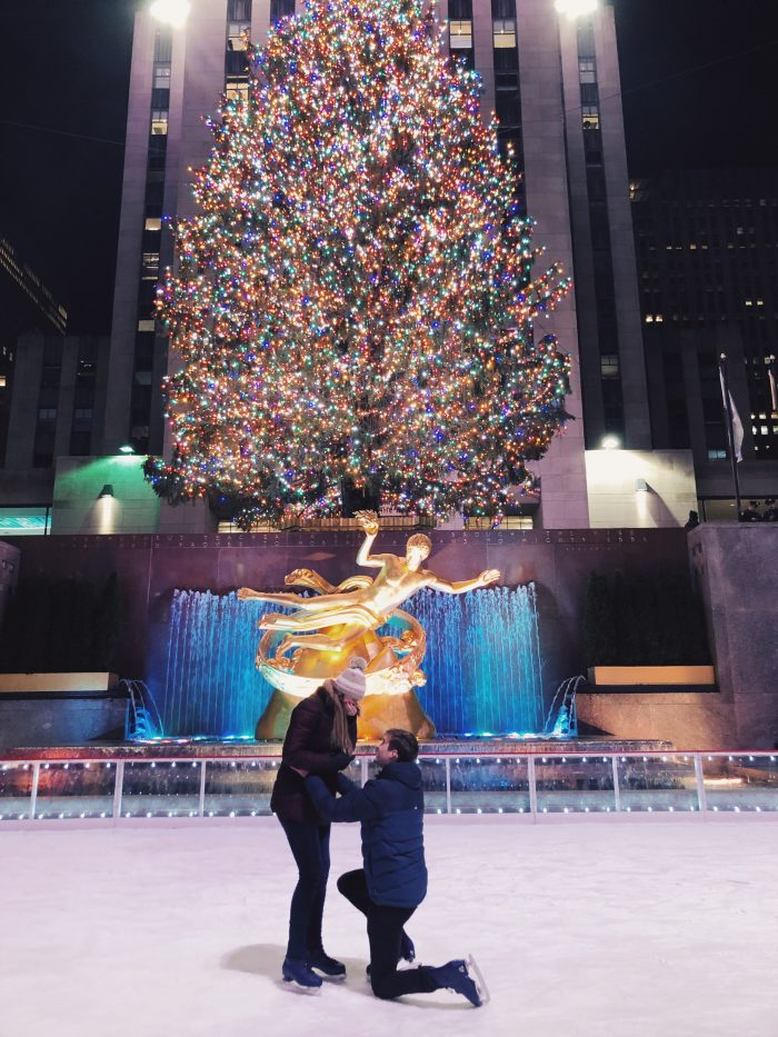 Engagement Proposal Ideas in Rockefeller Ice Rink, New York City