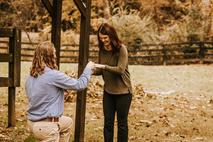 Wedding Proposal Ideas in Stables at strawberry creek in Knoxville Tennessee
