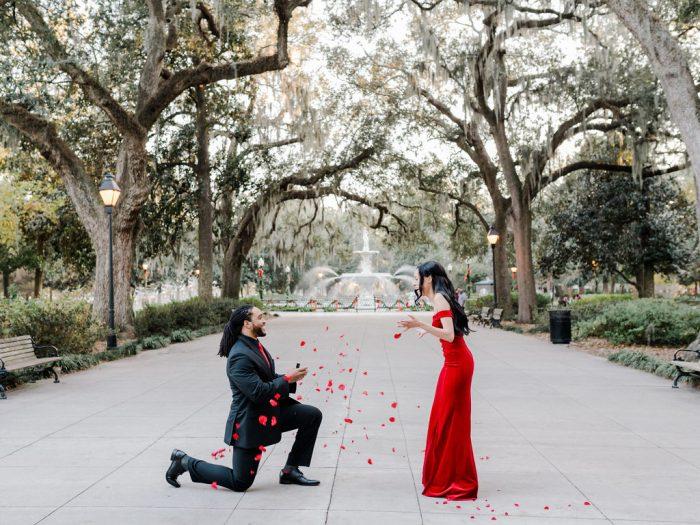 Antonia and Joe's Engagement in Savannah, Georgia in Forsyth Park
