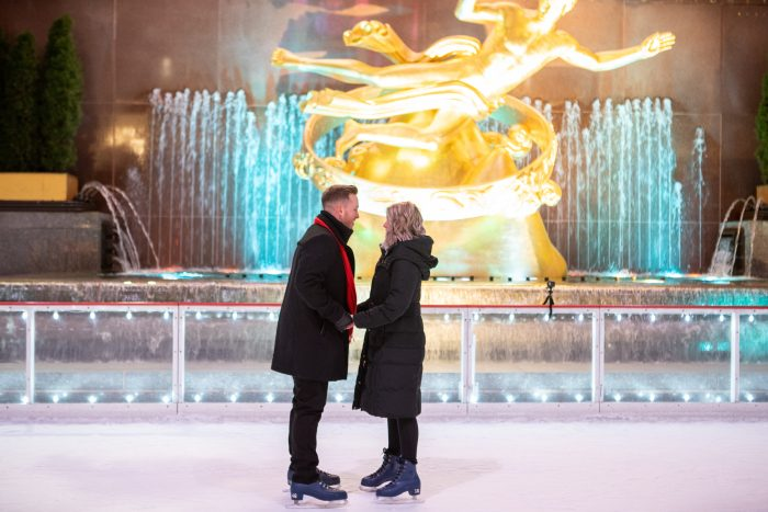 Hannah and Trey's Engagement in Rockefeller Center Ice rink