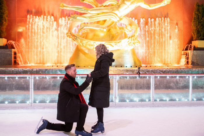Hannah's Proposal in Rockefeller Center Ice rink
