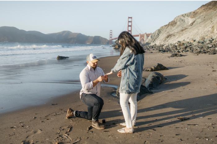 Karen and Edson's Engagement in Marshall's Beach, San Francisco, California