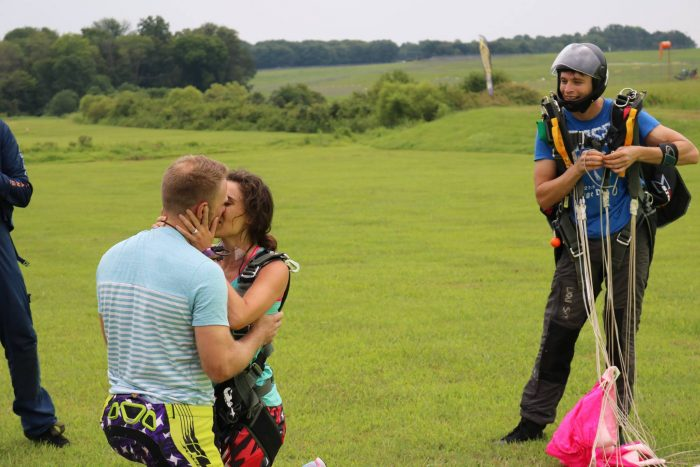 Wedding Proposal Ideas in Orange Skydive