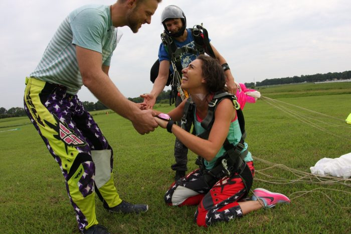 Marriage Proposal Ideas in Orange Skydive