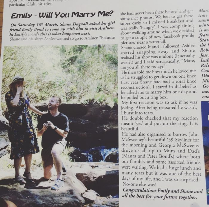 Shane's Proposal in Araluen Botanic Park