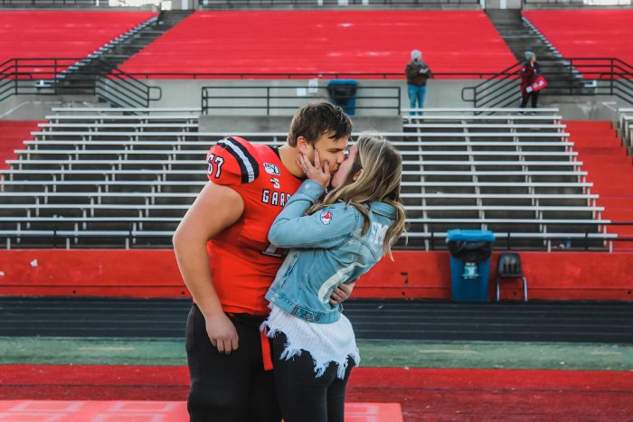 Wedding Proposal Ideas in Gardner Webb football field