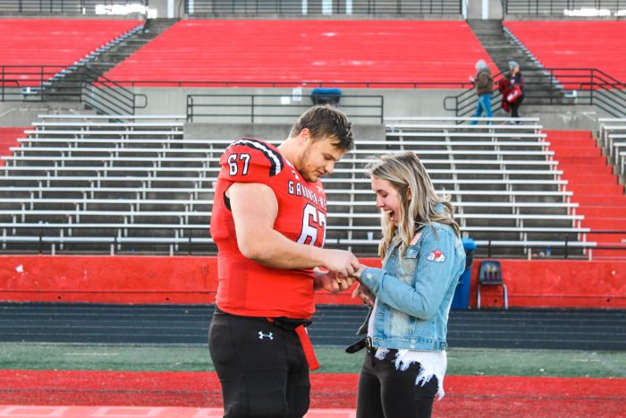 Callie's Proposal in Gardner Webb football field