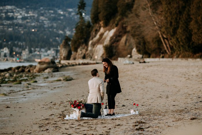 Pegah and Kyle's Engagement in Third Beach, Stanley Park