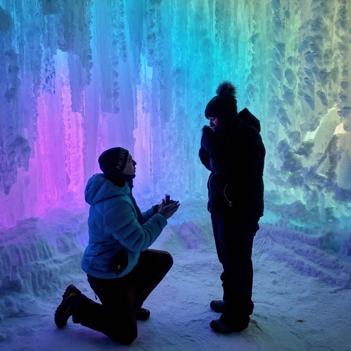 Luisa and Jacob's Engagement in Ice castles in Dillon, Colorado