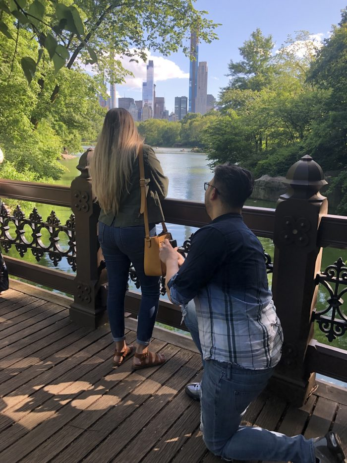 Marriage Proposal Ideas in Oak bridge at Central Park