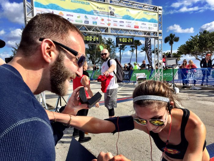 Wedding Proposal Ideas in Finish line of the A1A marathon in Fort Lauderdale, FL