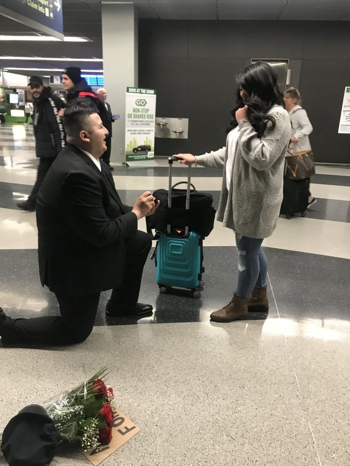 April's Proposal in Chicago O'Hare International Airport