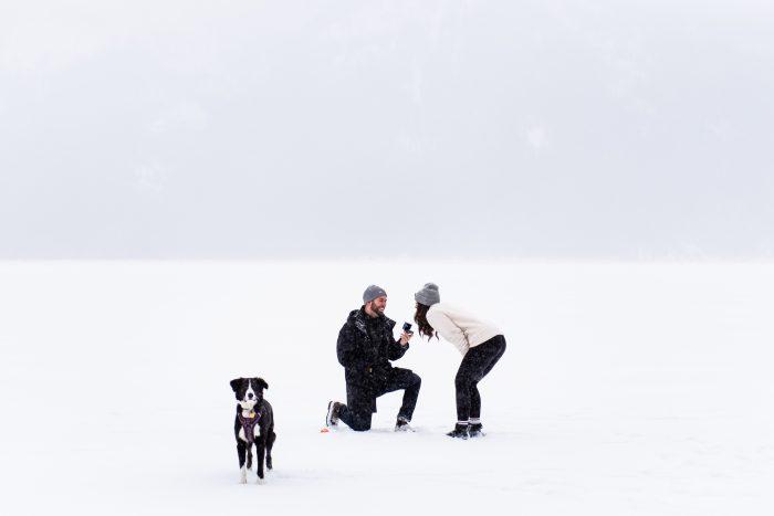 Shaelyn's Proposal in Lake Minniwanka Banff, Alberta Canada
