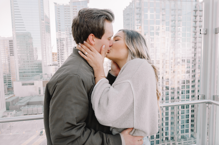 Bianca and Collin's Engagement in Merchant & Trade. A rooftop bar in Charlotte, NC