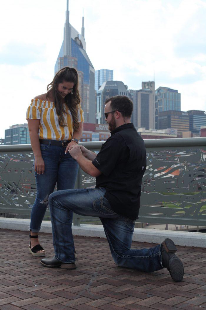 Cortney and Jake's Engagement in Nashville- Pedestrian Bridge