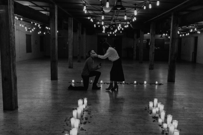 Wedding Proposal Ideas in Old Mattress Factory, downtown Omaha