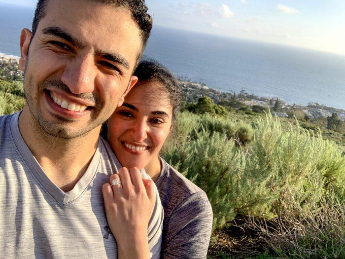 Samira and Shaw's Engagement in Laguna Beach, top of the world
