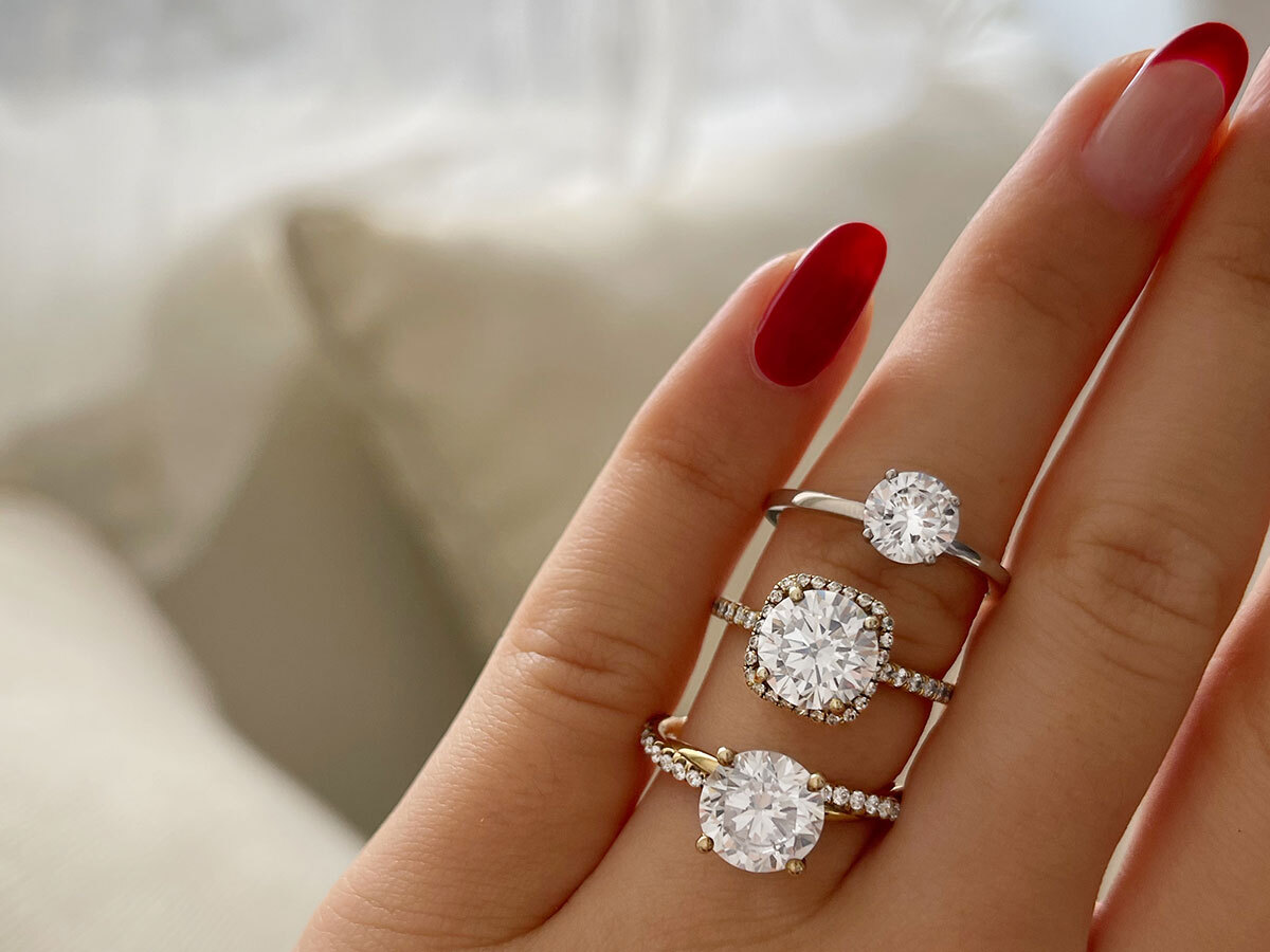 diamond engagement rings stacked